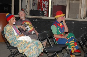 Clowns relax offstage